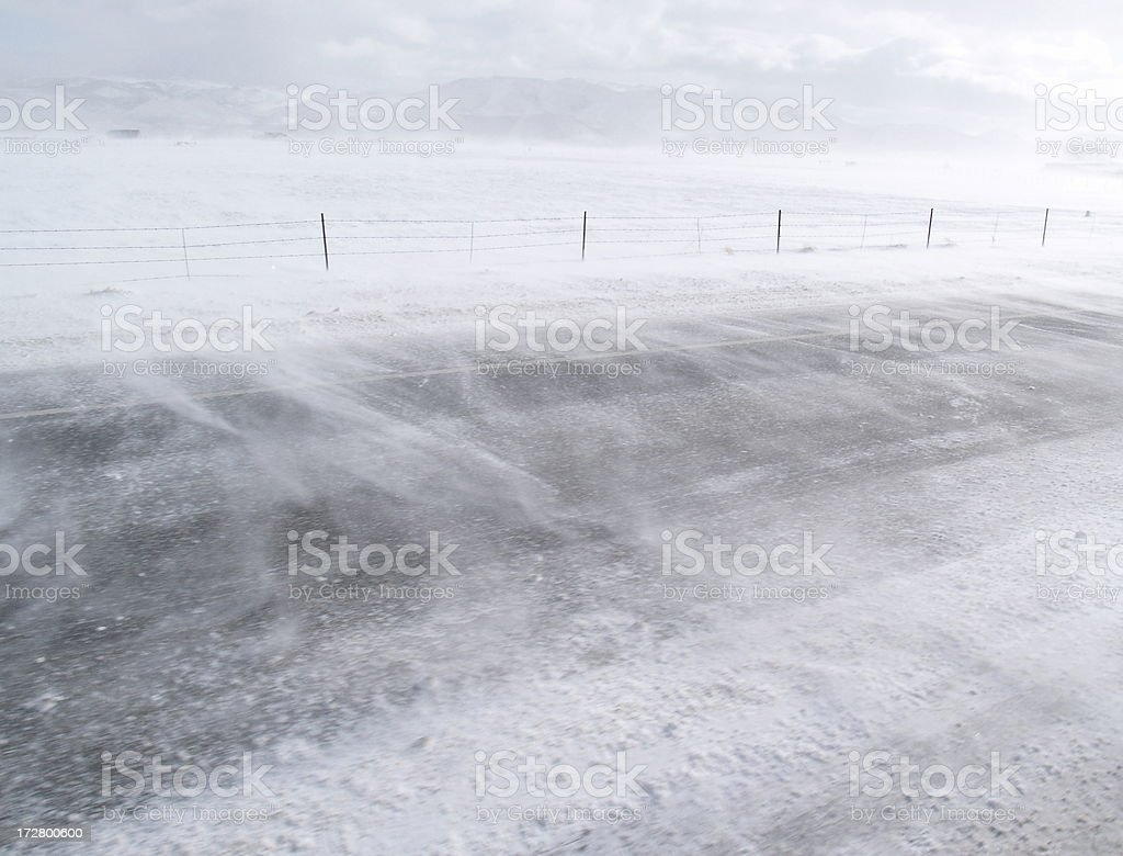 Driving Snow - Road Whiteout stock photo