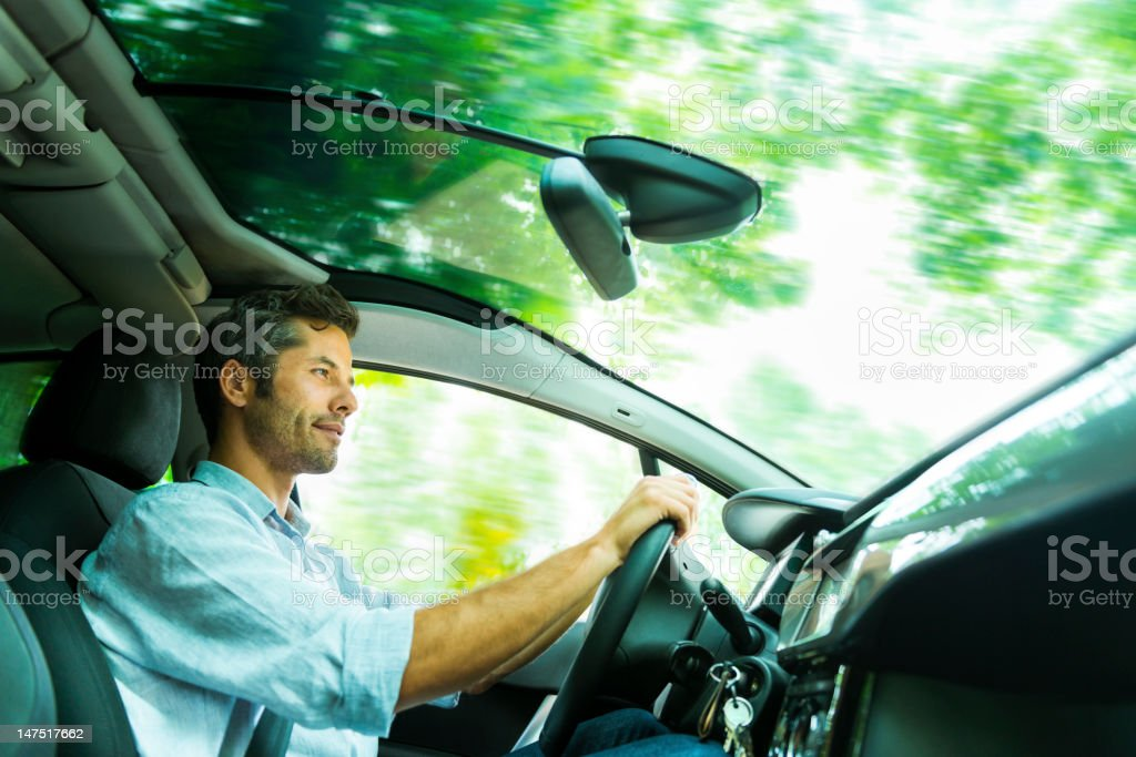 Driving through a forest stock photo