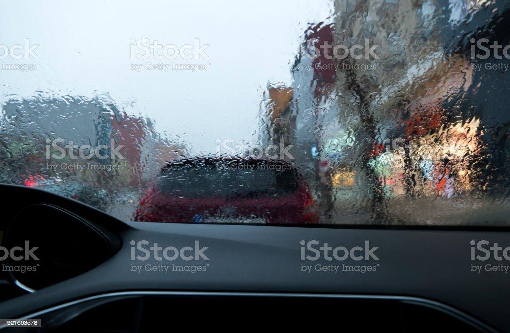 Driving through a rainy highway