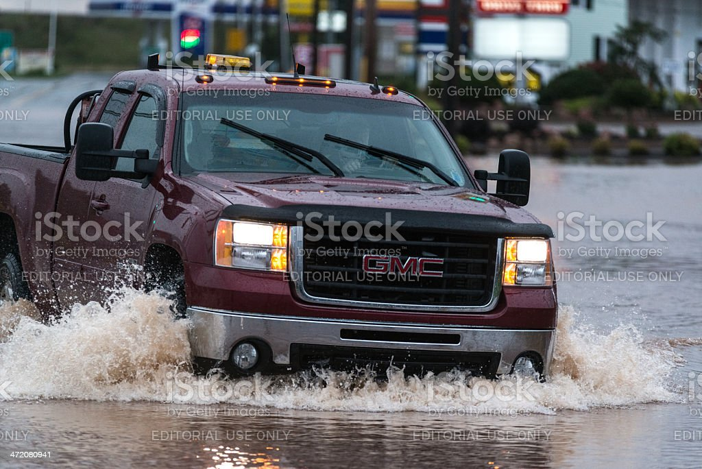 Driving Through Flood Waters stock photo