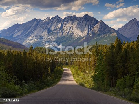 Straight Road Heading towards the Canadian Rockies and Forest