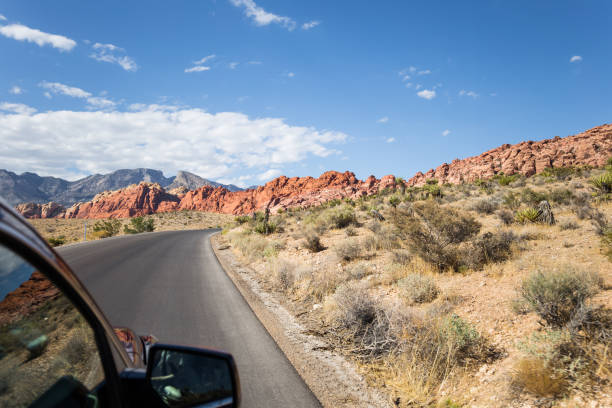Driving through Red Rock Canyon National Conservation Area stock photo