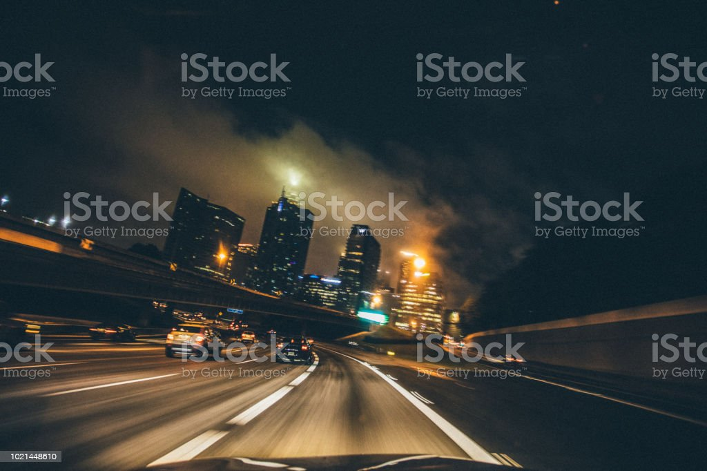 driving through the city stock photo