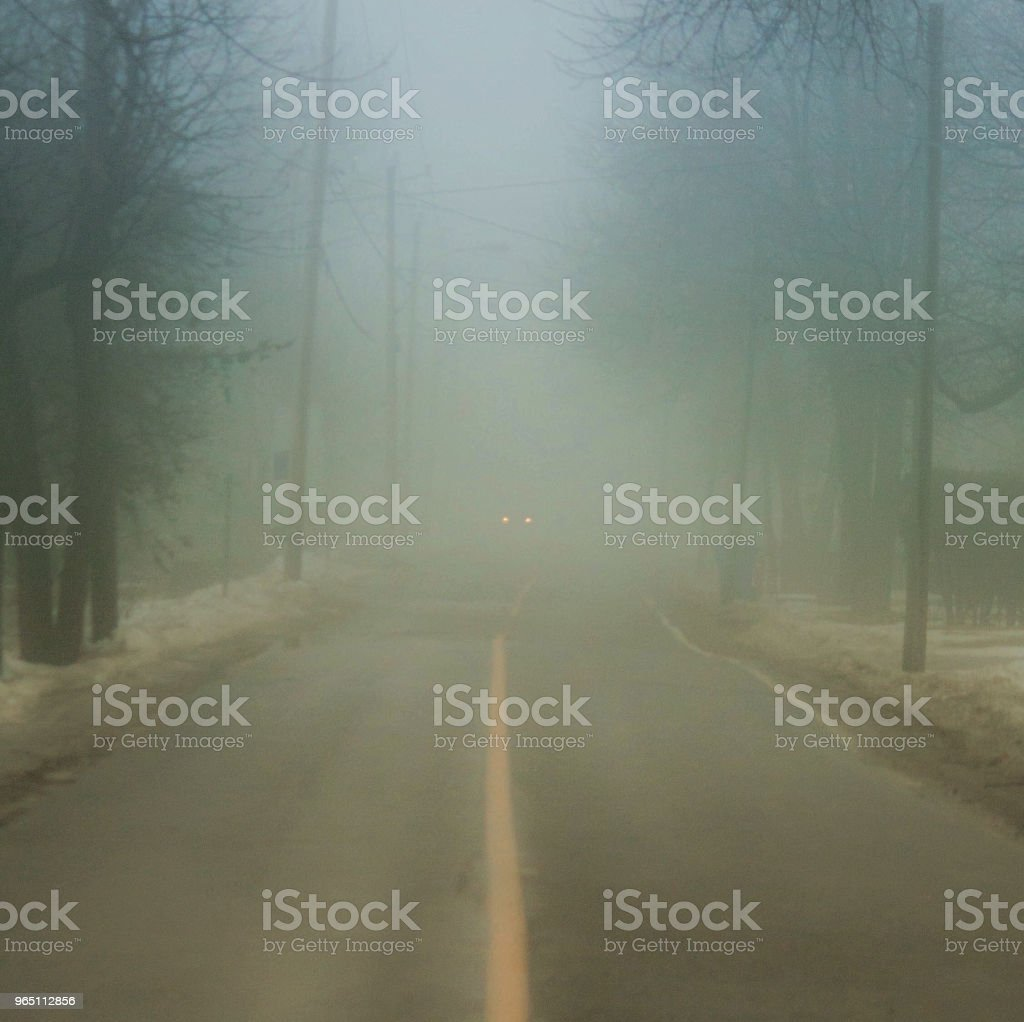Driving Through Thick Fog royalty-free stock photo
