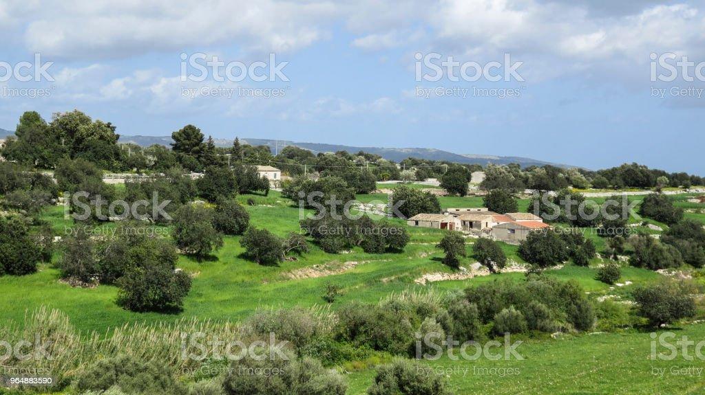 驅車到諾托, 西西里島, 義大利 - 免版稅Cassata圖庫照片