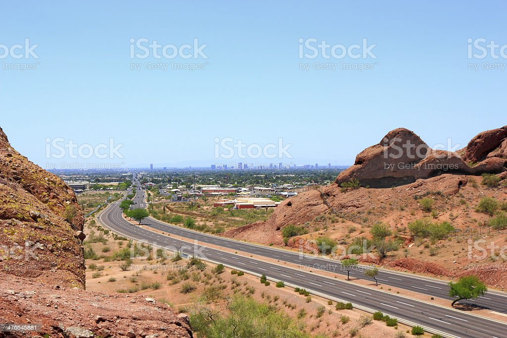 Driving to Phoenix Downtown, AZ royalty-free stock photo
