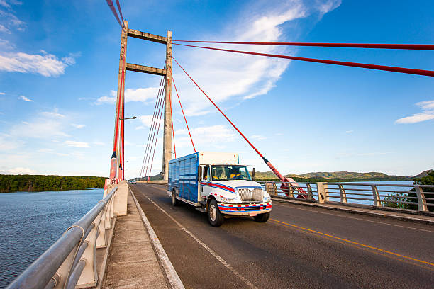 Driving Transportation Truck Cable-Stayed Bridge