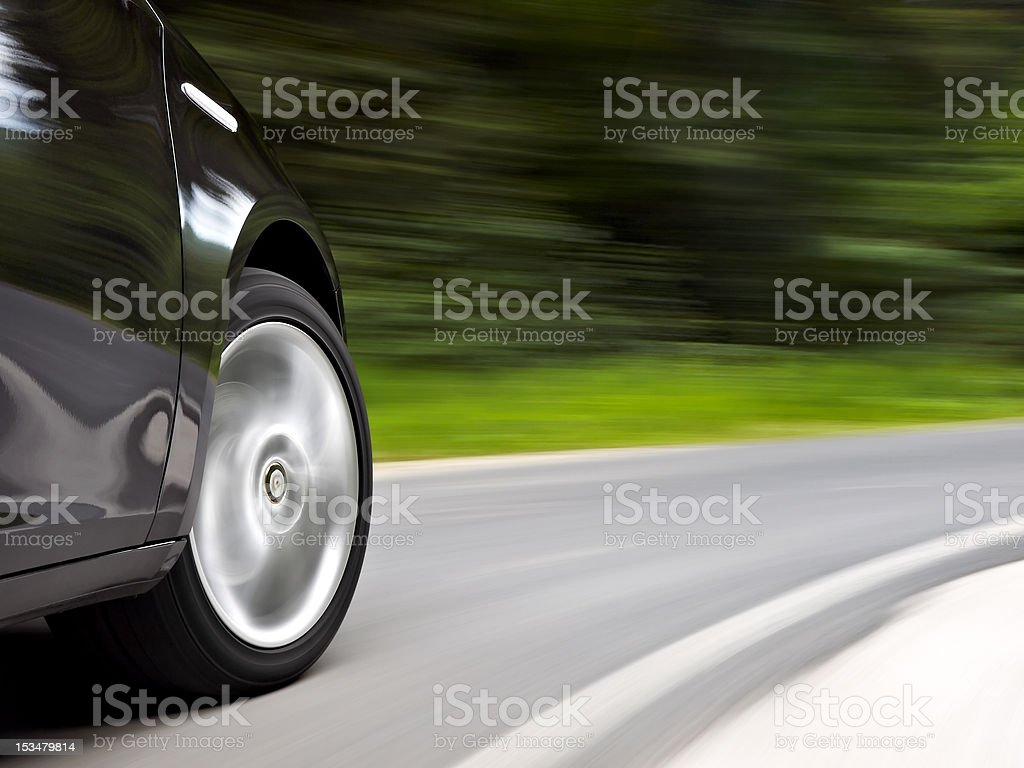 Driving trough a curve stock photo