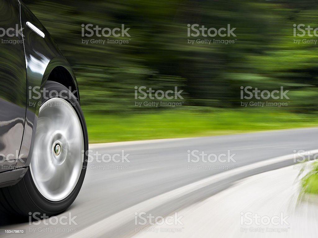 Driving trough a curve wider stock photo