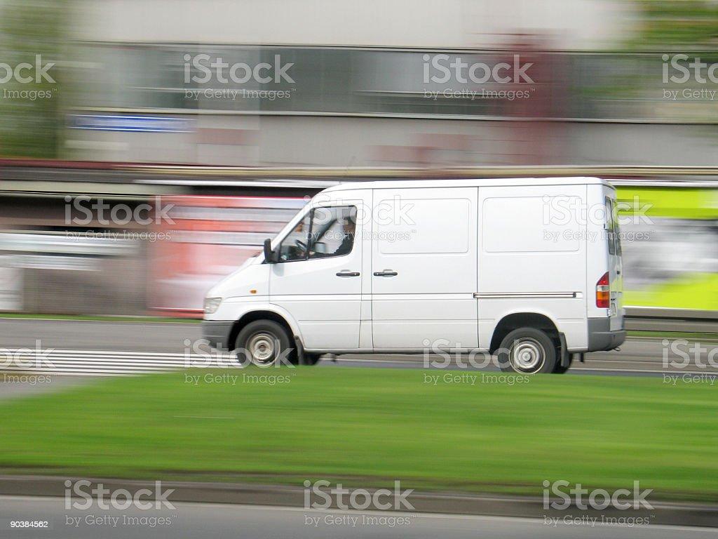 Driving van speed stock photo