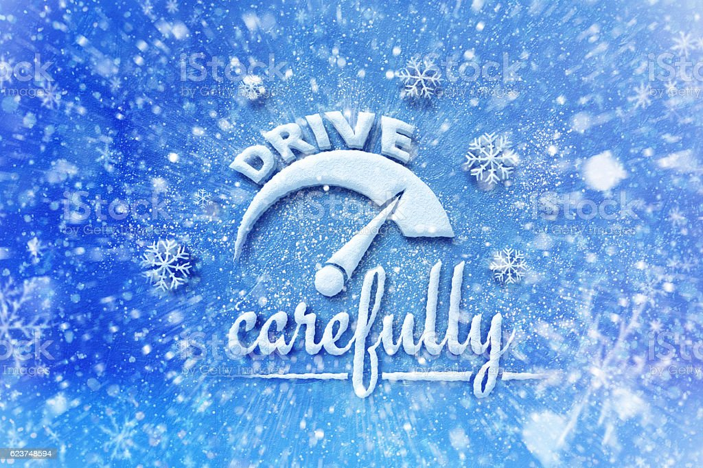 Driving winter background, drive carefully with automotive theme stock photo