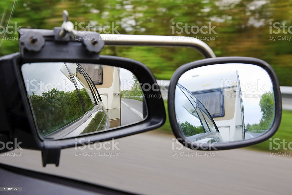 Driving with a trailer caravan royalty-free stock photo