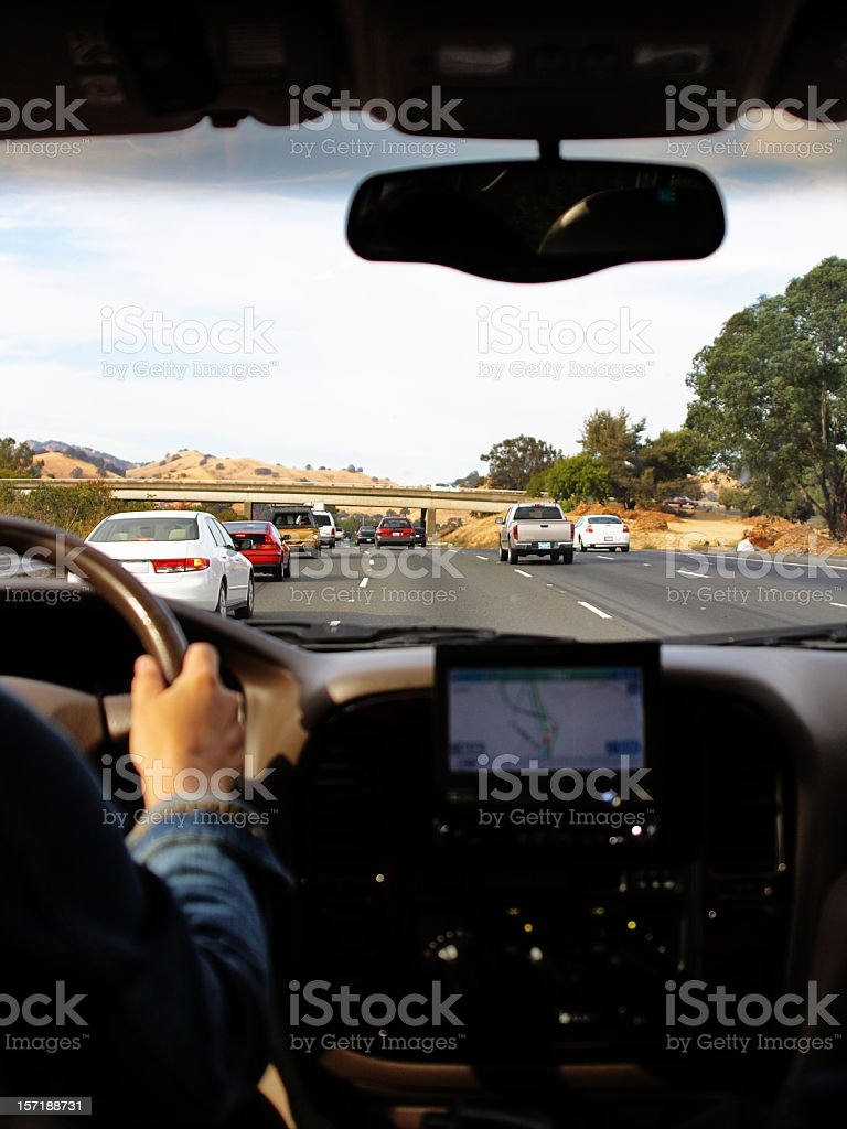 Driving with the help of gps navigation royalty-free stock photo