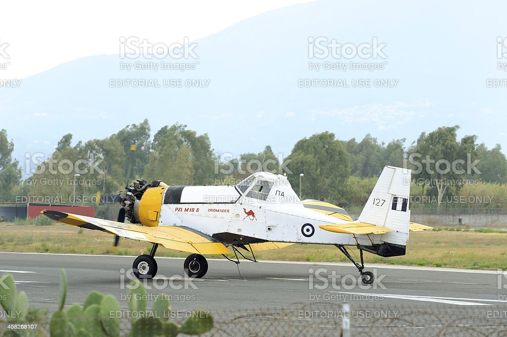 PZL M18 B Dromader airplane takeoff from active runway stock photo