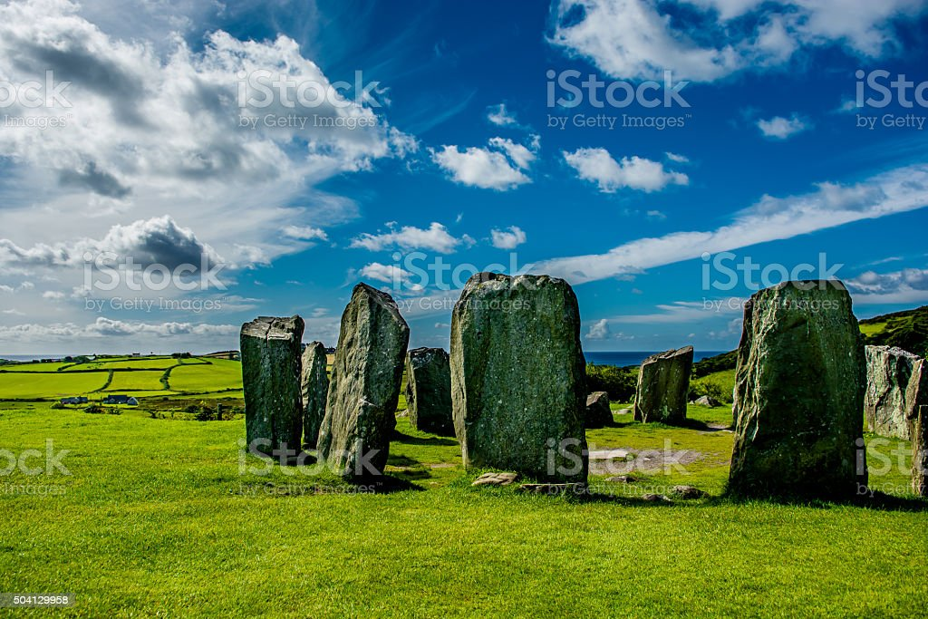 Drombeg Stone Circle at the Coast of Ireland stock photo