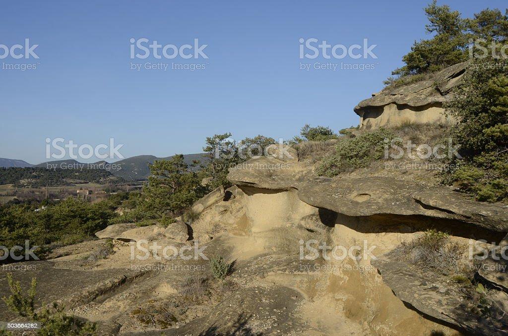 Drome landscape of sand rocks in France stock photo