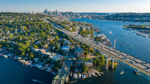Drone Aerial footage of the Seattle Skyline stock photo