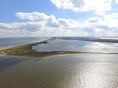 Drone image of a barrier island that was impacted by the Deepwater Horizon oil spill