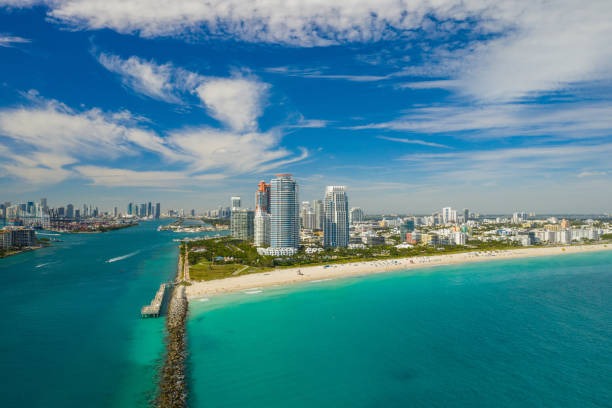 Drone aerial Miami Beach Florida Drone aerial Miami Beach Florida miami beach stock pictures, royalty-free photos & images