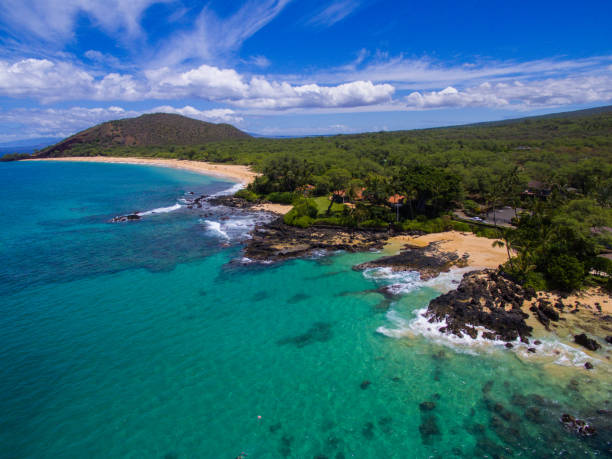 Drone Aerial of a Coastline in Maui stock photo