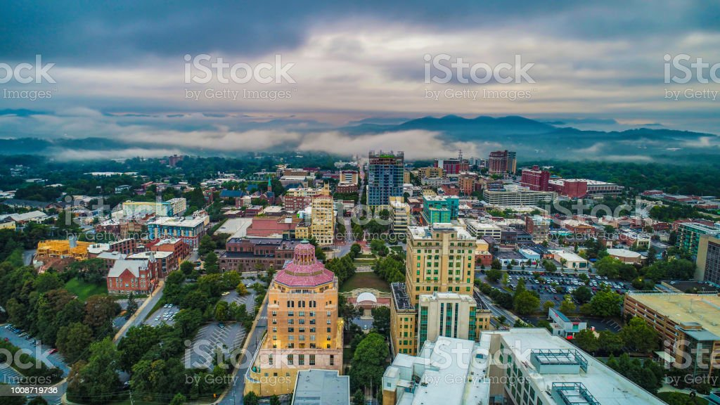 Drone Aerial of Downtown Asheville North Carolina Skyline stock photo