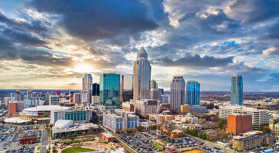 Drone Aerial of Downtown Charlotte, North Carolina, NC, USA Skyline
