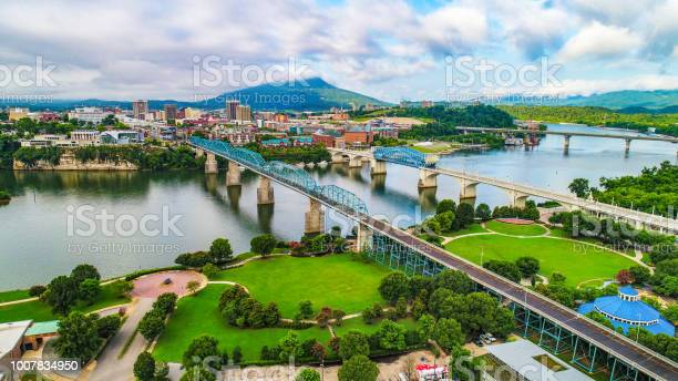 Drone Aerial Of Downtown Chattanooga Tennessee Skyline Stock Photo - Download Image Now