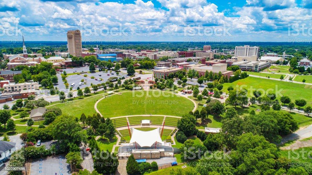Drone Aerial of Downtown Spartanburg South Carolina Skyline stock photo
