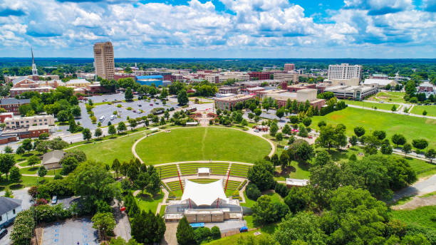 Drone Aerial of Downtown Spartanburg South Carolina Skyline Drone Aerial of Downtown Spartanburg South Carolina Skyline spartanburg stock pictures, royalty-free photos & images