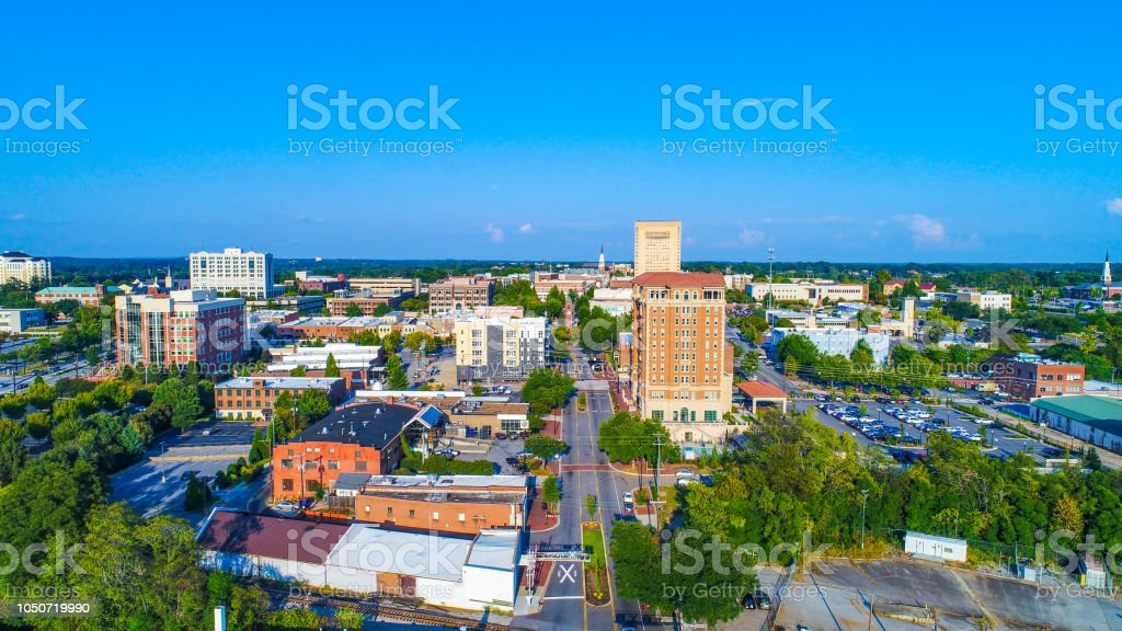 Drone Aerial of Downtown Spartanburg, South Carolina, USA Skyline stock photo