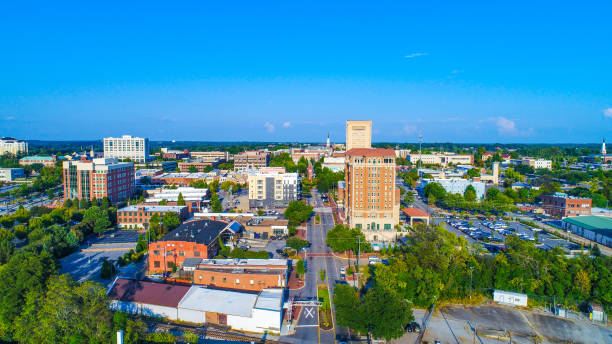 Drone Aerial of Downtown Spartanburg, South Carolina, USA Skyline Drone Aerial of the Downtown Spartanburg, South Carolina, USA Skyline spartanburg stock pictures, royalty-free photos & images