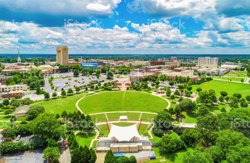 Drone Aerial of Spartanburg South Carolina SC Skyline stock photo