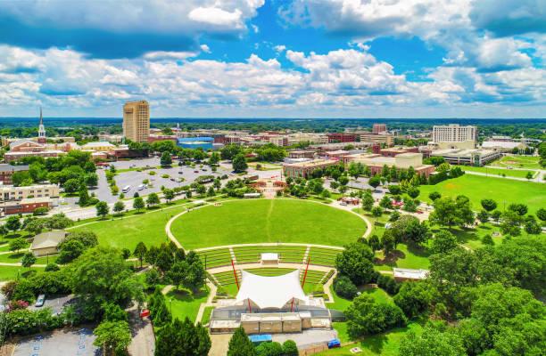 Drone Aerial of Spartanburg South Carolina SC Skyline Drone Aerial of Spartanburg South Carolina SC Skyline spartanburg stock pictures, royalty-free photos & images