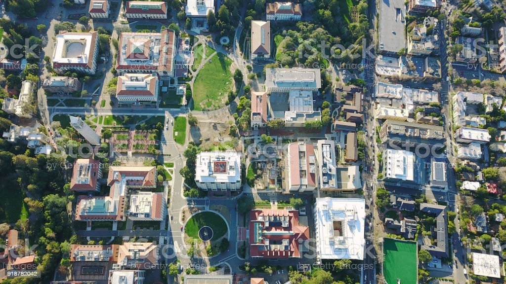 Drone Aerial over Suburban/Urban City, College Campus stock photo