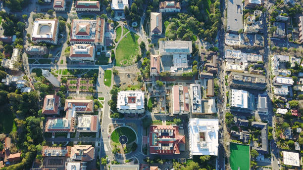 drone aerial over suburban/urban city, college campus - town stock pictures, royalty-free photos & images