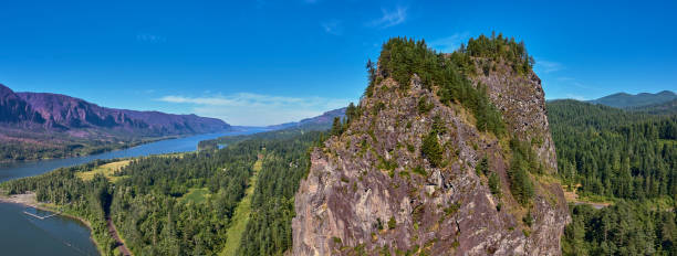 Drone aerial panorama of Beacon Rock the amazing Columbia Gorge in the background on a summer morning stock photo