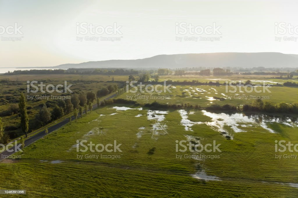 Drone aerial picture from a Hungarian landscape , near the lake Balaton – zdjęcie