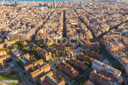 Drone aerial view of beautiful tradition famous pattern building grid pattern and San Pow Hospital in  Barcelona cityscape in Spain,