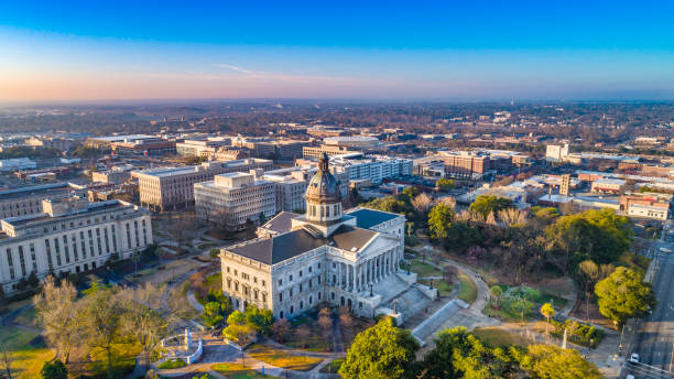Drone Aerial View of Downtown Columbia, South Carolina, USA Drone Aerial View of Downtown Columbia, South Carolina, USA. south carolina stock pictures, royalty-free photos & images