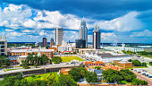 istock Drone Aerial View of Downtown Mobile Alabama AL Skyline 1154675668