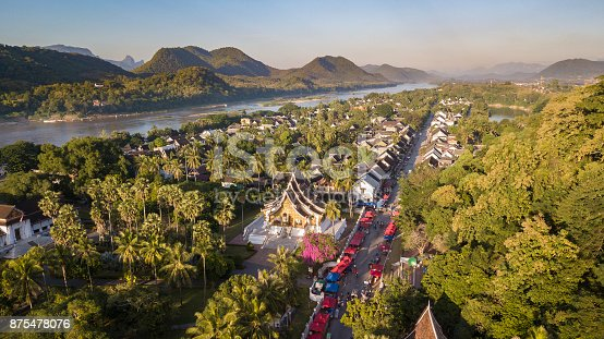 Aerial photograph of UNESCO heritage town of Luang Prabang in Laos, South-East Asia.