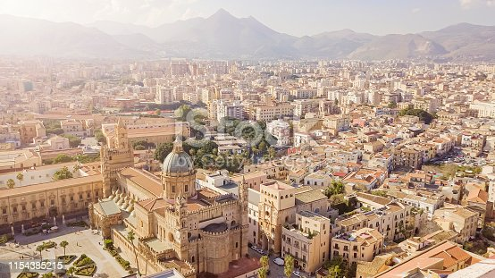 drone aerial view of old famous destination town Palermo is located in the northwest of the island of Sicily