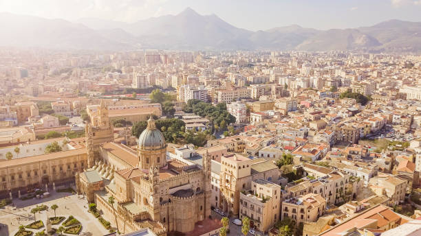 drone aerial view of old famous destination town palermo is located in the northwest of the island of sicily - palermo città foto e immagini stock
