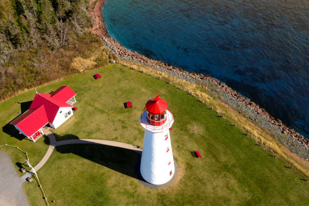 Drone aerial view of Point Prim lighthouse, Prince Edward Island, Canada stock photo