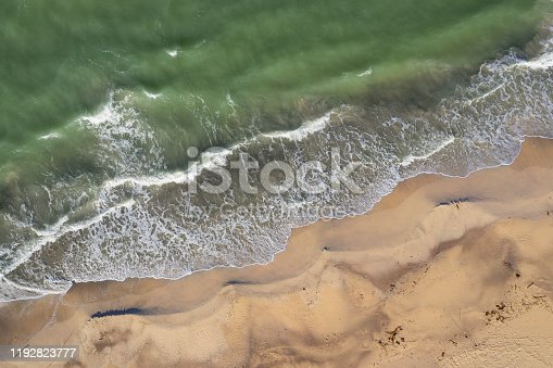 Drone aerial view of rough wave