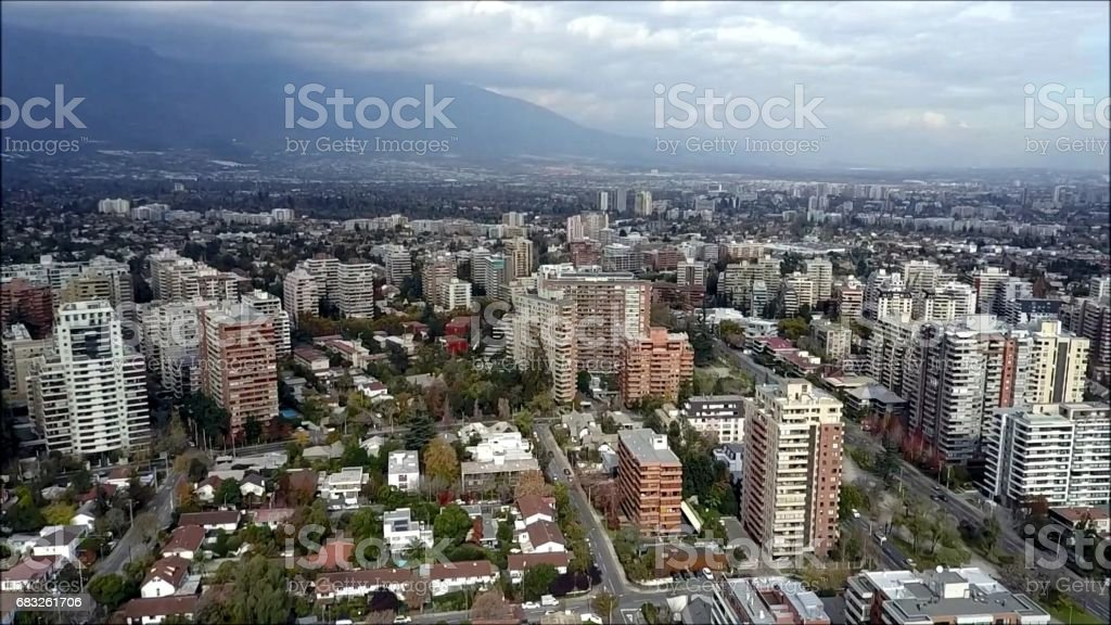 Drone aerial view of Santiago the capital of Chile foto de stock royalty-free