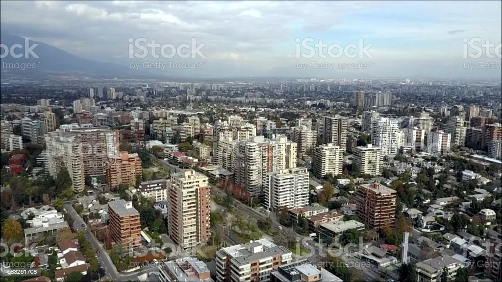 Drone aerial view of Santiago the capital of Chile 免版稅 stock photo