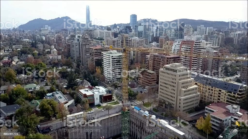 Drone aerial view of Santiago the capital of Chile royalty-free 스톡 사진