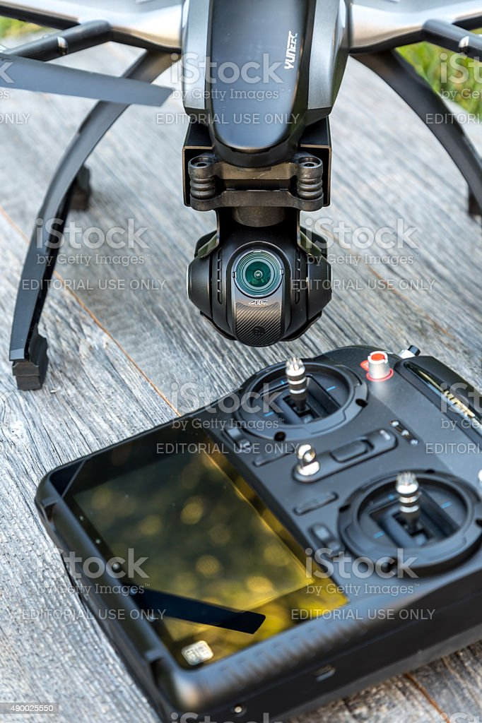 Drone and Controller With 4K Camera Ready To Fly stock photo