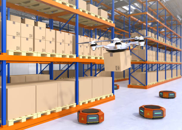 Drone and orange robots in modern warehouse Drone and orange robots in modern warehouse. Advanced warehouse robotics technology concept. 3D rendering image. distribution center stock pictures, royalty-free photos & images